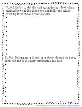 4th Grade Common Core Standards Journal for Teacher Blue Zebra