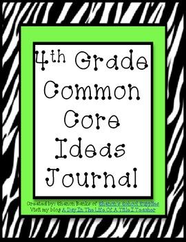 4th Grade Common Core Standards Journal for Teacher Green Zebra