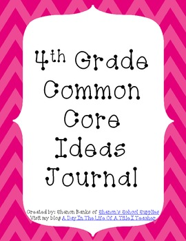 4th Grade Common Core Standards Journal for Teacher Pink Chevron
