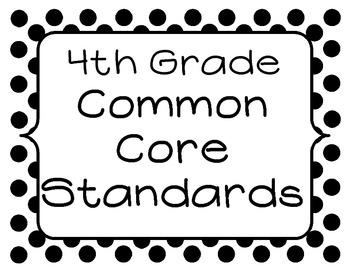 4th Grade Common Core Standards Posters - Black and White Dots