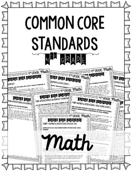 4th Grade Common Core Standards & Standards Checklist