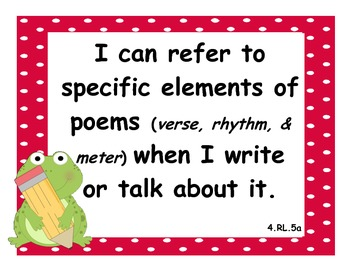 4th Grade Common Core State Standard: Language Arts I Can Statements w/ Frogs
