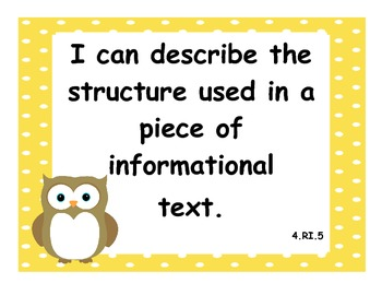 4th Grade Common Core State Standard: Language Arts I Can Statements w/ Owls