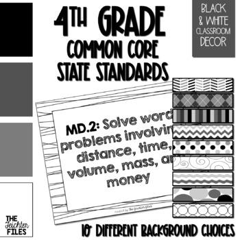 4th Grade Common Core State Standards (CCSS) Posters Black & White  *Editable*