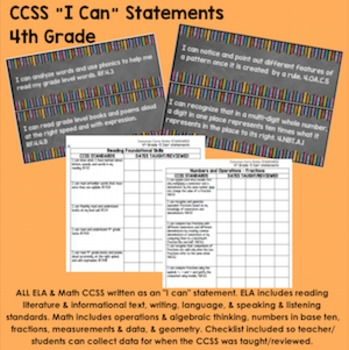 "4th Grade Common Core State Standards CCSS ""I Can"" Statements & Checklist"