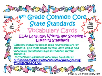 4th Grade Common Core State Standards ELA Vocabulary Cards for Writing,...Set 2