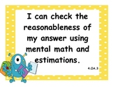 4th Grade Common Core State Standards Math I Can Statements - Monster Theme