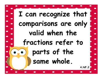 4th Grade Common Core State Standards Math I Can Statements - Owl Theme