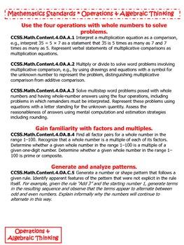 4th Grade Common Core State Standards Mathematics Flipbook