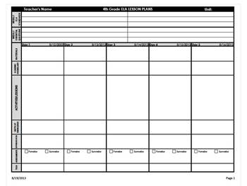 Th Grade Common Core Weekly Lesson Plan Template ELA Math - Common core lesson plan templates