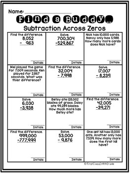 4th grade common core subtraction across zeros find a buddy tpt. Black Bedroom Furniture Sets. Home Design Ideas