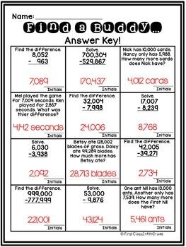 4th Grade Common Core Subtraction Across Zeros (Find a Buddy)