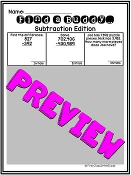 4th Grade Common Core Subtraction (Find a Buddy)