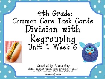 4th Grade Common Core Task Cards: Subtraction with regrouping Unit 1 Week 6