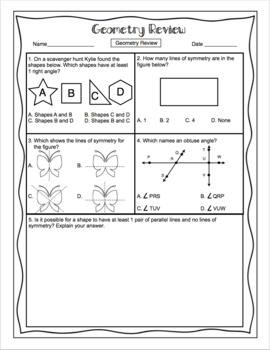 4th Grade Common Core Math Test Prep - Geometry