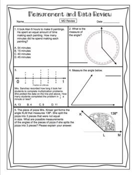 4th Grade Common Core Math Test Prep - Measurement and Data