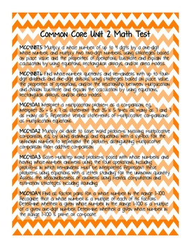 4th Grade Common Core Unit 2 Math Test: Multiplication and Division