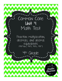 4th Grade Common Core Unit 4 Math Test: Fractions Part 2