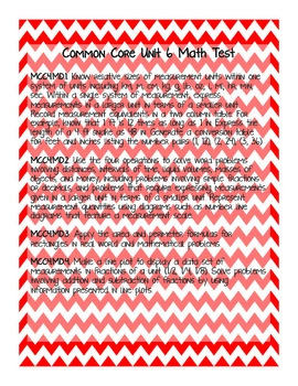 4th Grade Common Core Unit 6 Math Test: Measurement