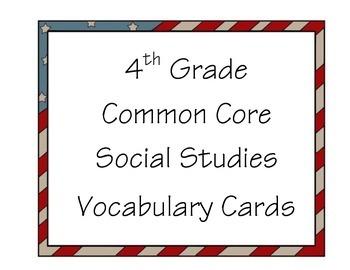4th Grade Common Core Vocabulary Cards