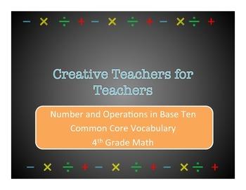 4th Grade Common Core Math Vocabulary Words