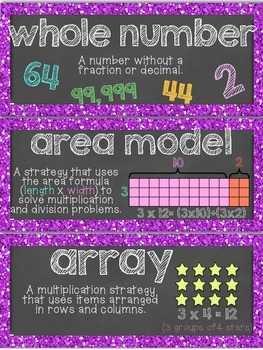 4th Grade Common Core Vocabulary Word Wall: Number and Operations in Base Ten