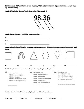 4th Grade Common Core Weekly Math and ELA Assessment Weeks 1-3 2nd 9 weeks