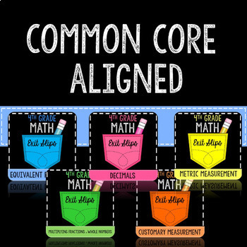 Math Exit Slips or Assessments for the Whole Year 4th Grade Common Core