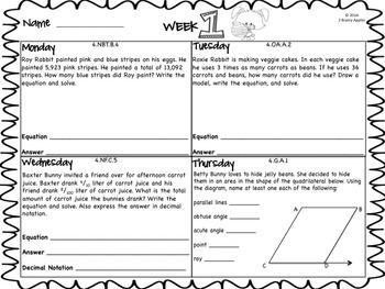 Word Problems 4th Grade, April