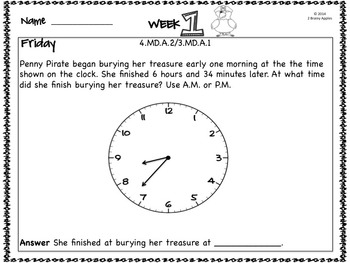 Word Problems 4th Grade, August