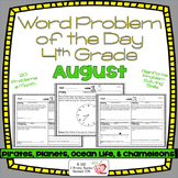 Word Problems 4th Grade, August, Spiral Review, Distance Learning