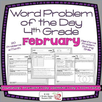 Word Problems 4th Grade, February