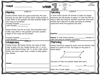Word Problems 4th Grade, November