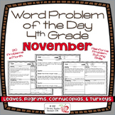 Word Problems 4th Grade, November