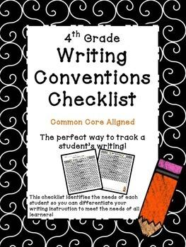 4th Grade Common Core Writing Conventions Checklist