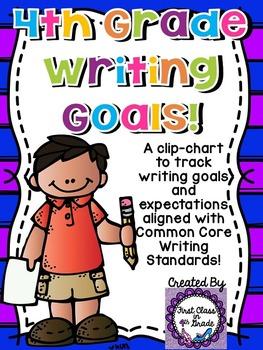 4th Grade Common Core Writing Goals Clip-Chart (Chevron)