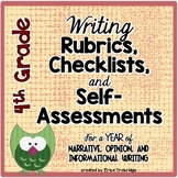 4th Grade Common Core Writing Rubrics & Checklists for the
