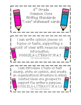 4th Grade Common Core Writing Standards Cards