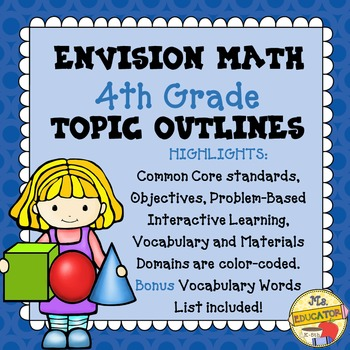 EnVision Math Common Core - 4th Grade Topics 1-16 Outlines