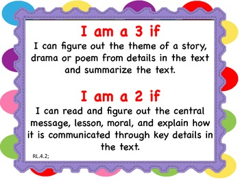 4th Grade Common Core/Marzano Learning Goal Proficiency Scale Posters