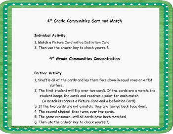 4th Grade Communities Sort and Match