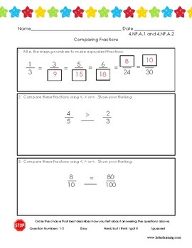 4th Grade - Comparing Fractions (with Student Self-Evaluation)
