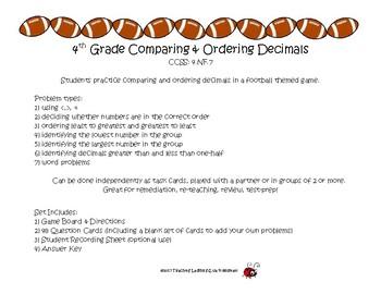 4th Grade Comparing & Ordering Decimals CCSS: 4.NF.7