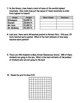 4th Grade Comprehensive Math Assessment