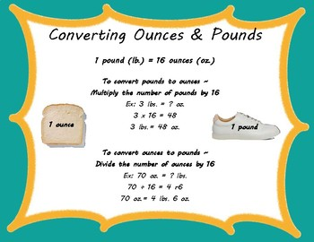 4th Grade Converting Ounces/Pounds & Inches/Feet/Yards CCSS: 4.MD.A.1 & 4.MD.A.2