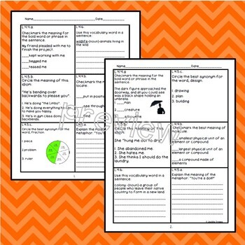 4th Grade Core Daily Vocabulary Review Boxes
