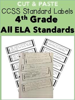 4th Grade Cut & Paste CCSS Labels - ELA Growing Bundle