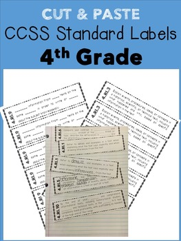 4th Grade Cut & Paste CCSS Labels - RI