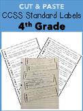 4th Grade Cut & Paste CCSS Labels - RI