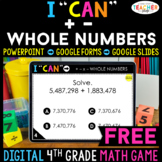 4th Grade DIGITAL I CAN Math Game | Addition & Subtraction | FREE